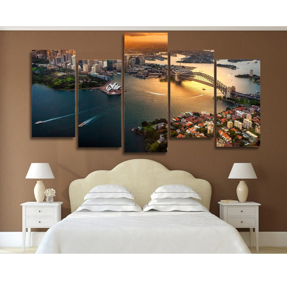 HD Printed Wall Art Frame Canvas Pictures Home Decor Living Room 5 Panel Sydney Australia Cityscape