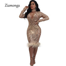 Ziamonga 2018 Fashion Winter Long Sleeve Midi Bandage Dress Runway Lady Sexy  Sequin Mesh Women Club Party Dresses Night Clubwear a59b54601daa