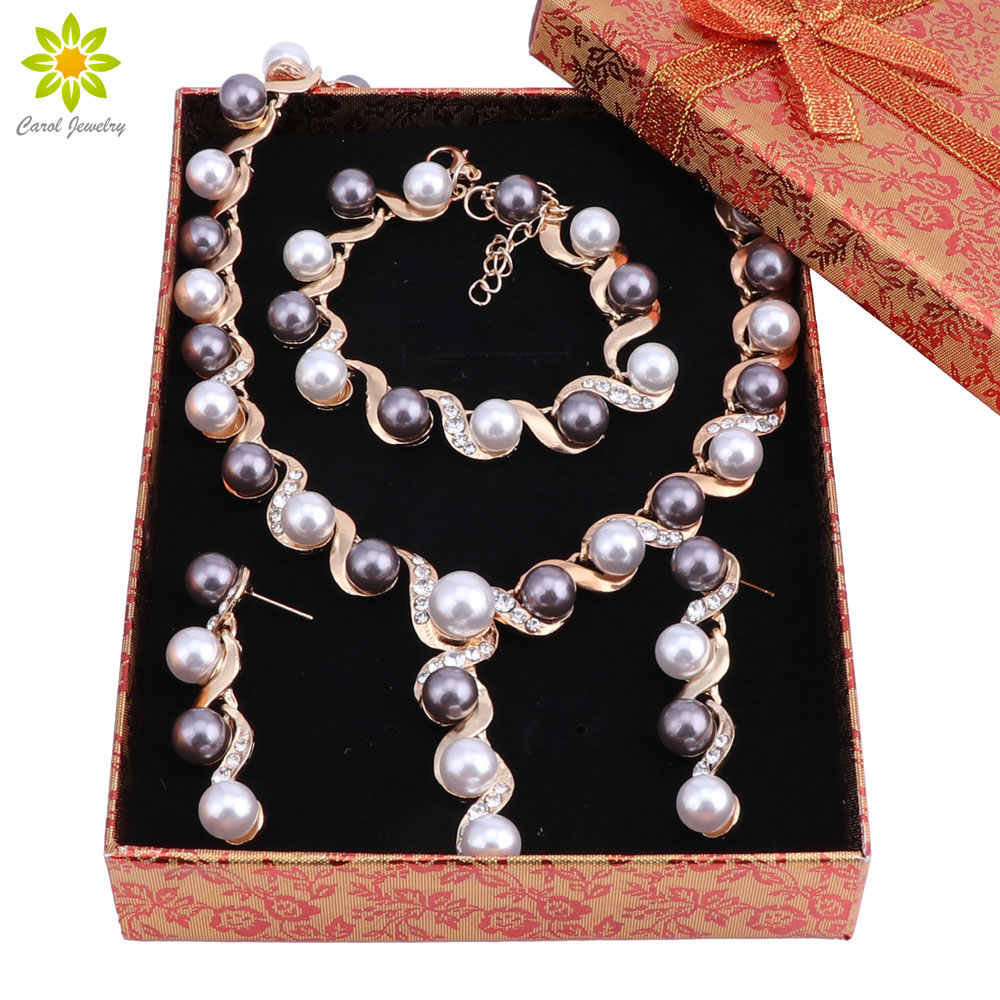 Fashion Simulated Pearl Necklace Bracelet Earrings Sets Clear Crystal Gold Color Women Wedding Jewerly Sets With Gift Boxes