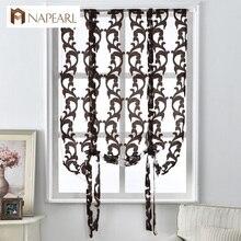 Cocina corto cortinas persianas romanas cortinas jacquard de rayas estilo Europeo cortinas textiles para el hogar decorativo mitad de la cortina de tul