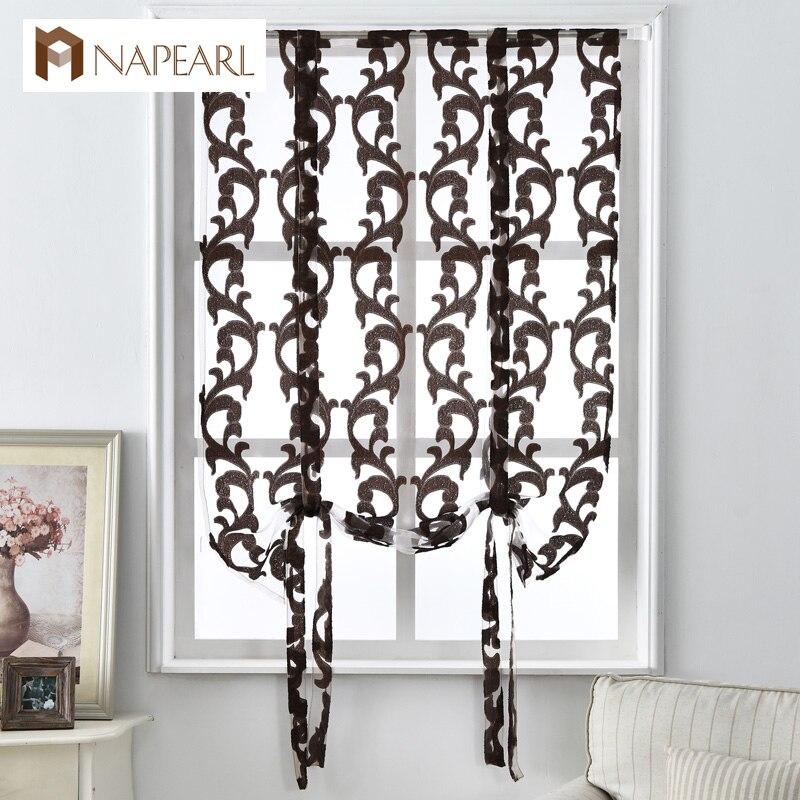 Kitchen Short Curtains Curtain Roman Blinds Jacquard Striped European Style  Curtains Home Textile Decorative Curtain Half Tulle