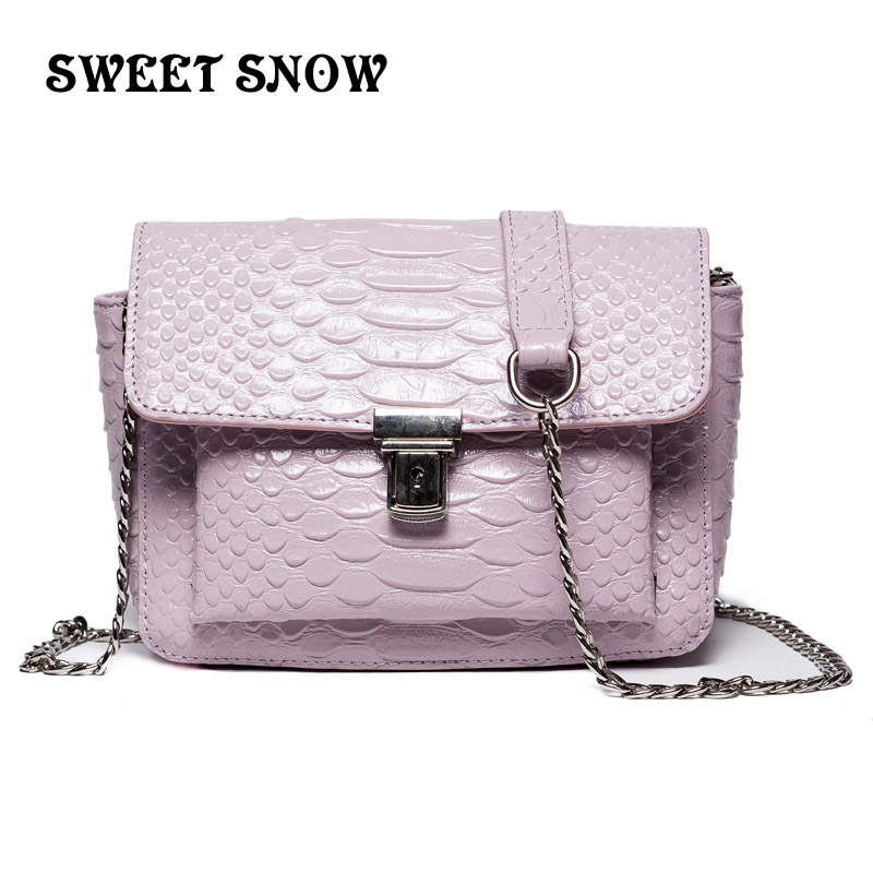 SWEET SNOW New Retro Genuine Leather Girl Messenger Bag Fashion Casual Girl Handbag Fish Scale Chain