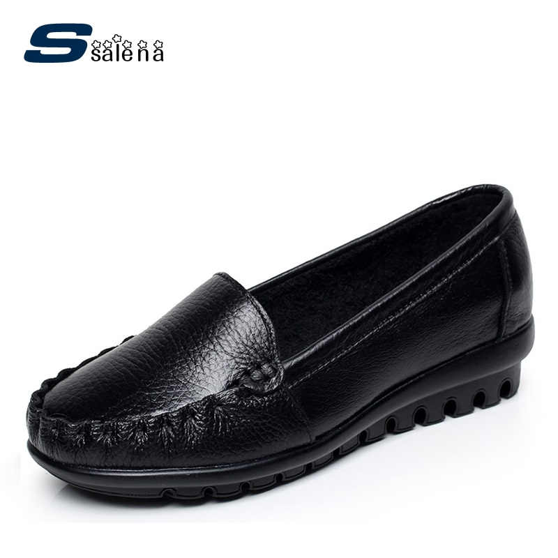 Women Leather Shoes Women Flats Comfortable Soft Bottom Peas Shoes Low Top Mother Shoes Factory Direct Big Size Eu43 #B2148 factory direct sale women cloth shoes new designer shoes bowknot casual shoes work flats