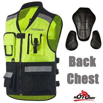 MOTOBOY GREEN/BLACK Motorcycle Vest Reflective Motocross Racing Back & Chest Pads Protector VEST CE Certified Moto Jackets