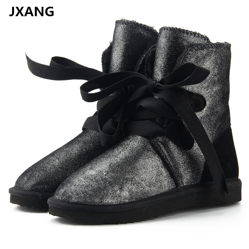 JXANG High Quality Women Snow Boots Genuine Cowhide Leather Boots 100% Natural Fur Winter Boots Warm Wool Women Lace Up Boots