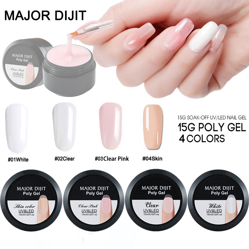 15 ml Fibreglass Hard Jelly Builder Nail Gel Nail Quick Extending Gel Wide Mouth Bottle DIY Clear Natural Camouflage Color TSLM1 1