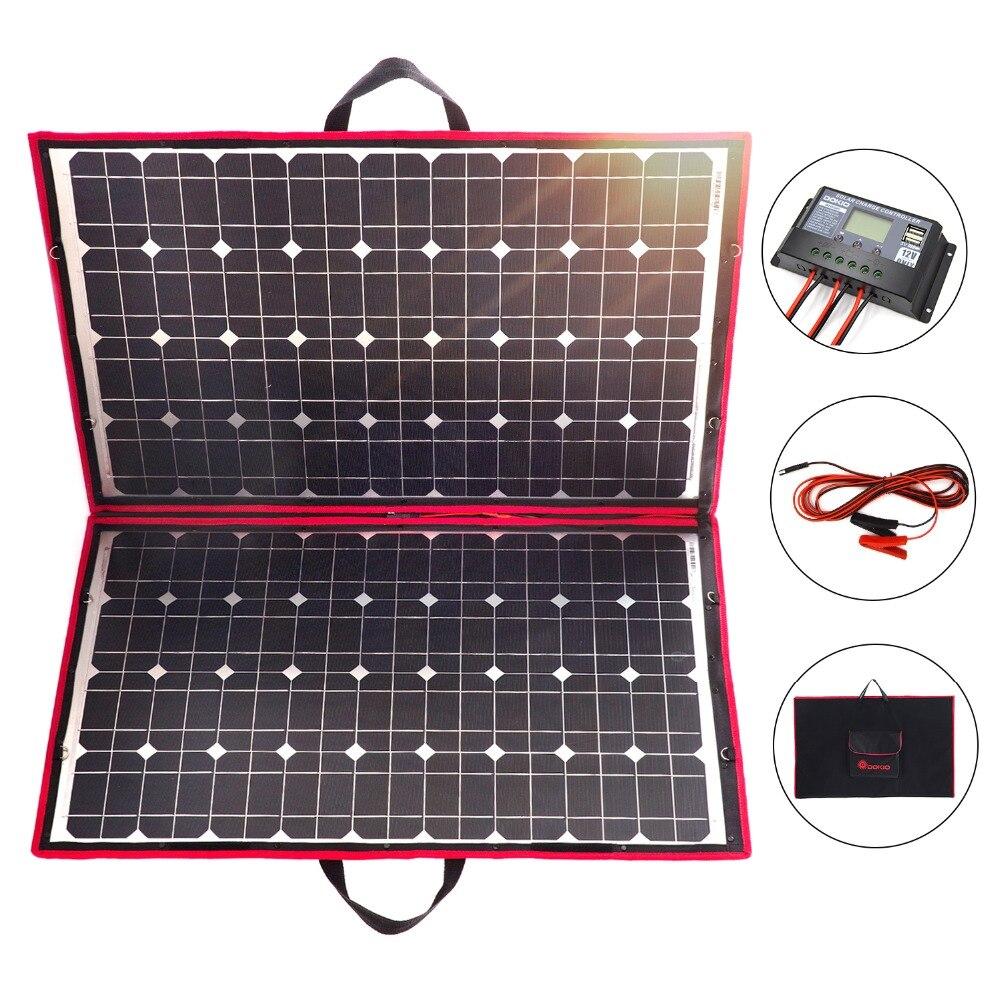 Dokio 18 V 100 w 110 W panneau solaire 12 V Flexible Foldble Solaire Charge téléphone portable usb Extérieure panneaux solaires Pour Le camping /bateaux/Maison