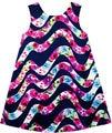 Sunny fashion vestido de las muchachas de flor flor rosa onda de agua del tanque 2017 de la princesa del verano vestidos de fiesta de la boda ropa de los cabritos tamaño 7-14