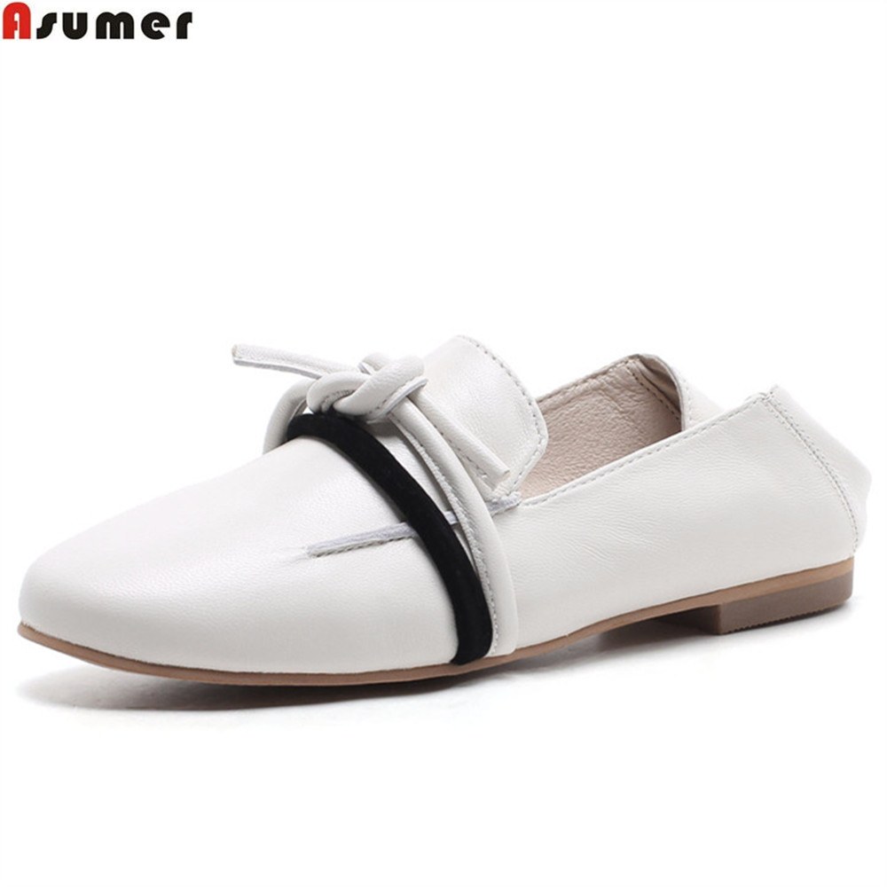 ASUMER black fashion square toe shallow single shoes woman spring autumn flats shoes mixed colors women genuine leather flats hizcinth 2018 spring women shoes shallow lace up square toe single shoes woman geometric stars casual flats platform shoes