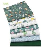 Chainho, 7 pcs/lot, Vert Floral Série, Imprimé Sergé Coton Tissu, Patchwork Tissu, DIY Couture et Quilting Matériel Pour Bébé et Enfants