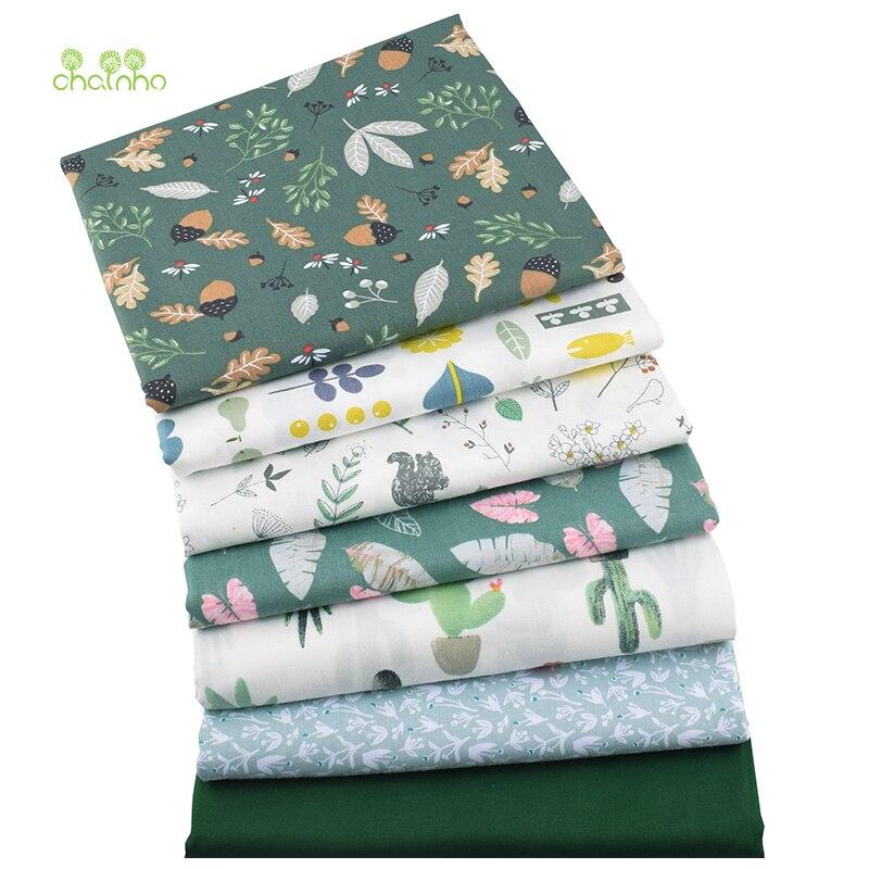 Chainho, 7 шт./партия, зеленая Цветочная серия, печатная твиловая, хлопковая ткань, Лоскутная Ткань, DIY шитье и материал для стеганых изделий для малышей и детей