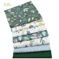 Chainho,7pcs/lot,Green Floral Series,Printed Twill Cotton Fabric,Patchwork Cloth,DIY Sewing&Quilting Material For Baby&Children