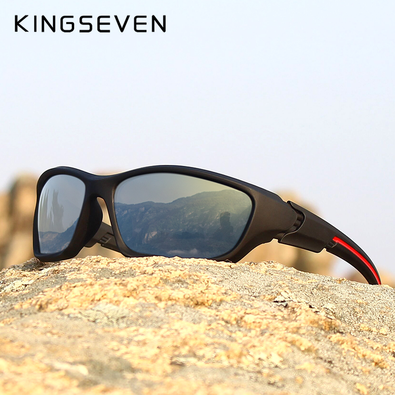 KINGSEVEN Brand 2019 Men's Polarized Sunglasses TR90 Frame Night Vision Mirror Eyewear Sun glasses Men Goggle lunette de soleil
