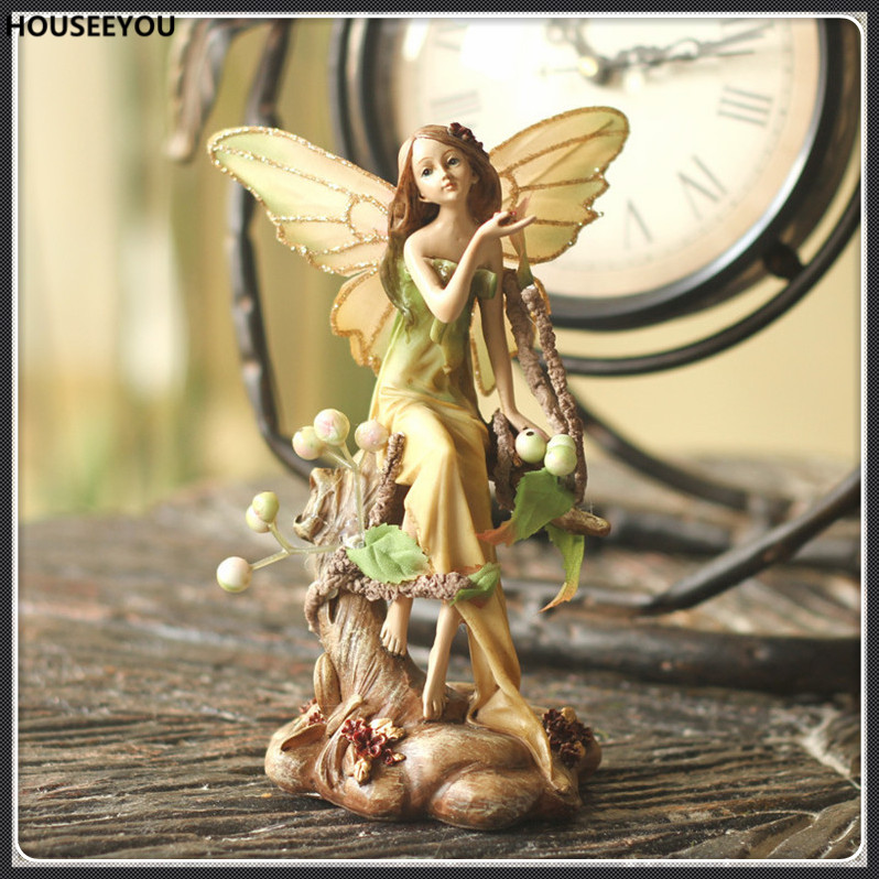 Figurines Ornaments Angel Girl Figurine Miniature Garden Decoration Crafts Abstract Sculpture Creative Home Decor Art Accessorie