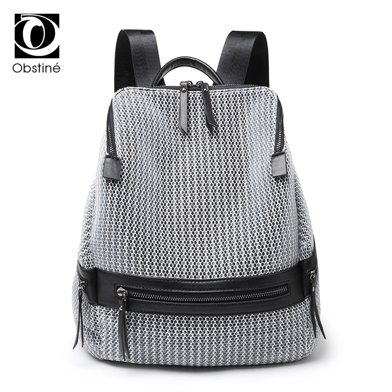 2018 Hollow Out Nylon Backpack Woman Summer Backpacks for Women Silver Back Pack Fashion ...