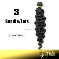 Free Shiping 12''~28'' Loose Wave 3 Bundle/lots QWB Top Grade Virgin Brazilian Hair No Corn-Chip Smell