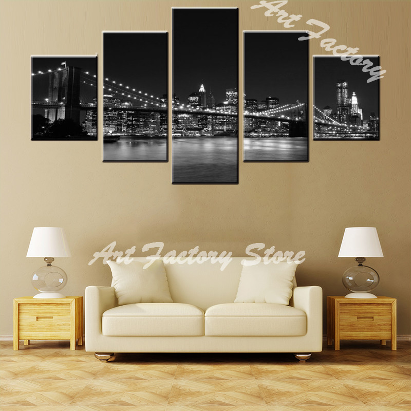 Hot sales canvas Paintings 5 panel Print On Canvas Abstract beauty city bridge Wall Art Home decoration craft gift JS-23