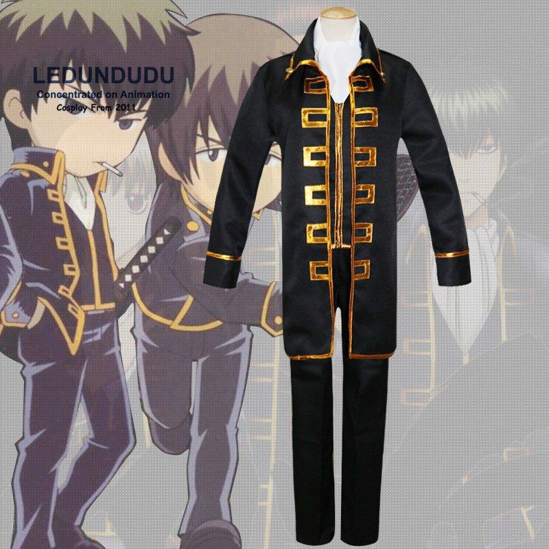 Anime gintama Cosplay Okita sougo shinsengumi capa hombres Fancy party  uniforme traje set para Halloween 7b03f4bf9a09