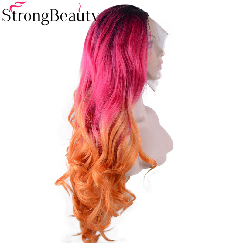 Strongbeauty Long Loose Wavy Synthetic Lace Front Wigs Ombre Black/Red/Orange Heat Resistant Wig