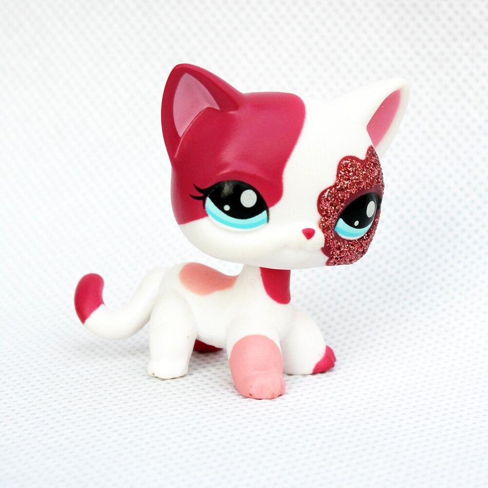 Rare Original Pet Shop Lps Toys Standing Short Hair Cat #2291 White Pink Glitter Kitty Free Shipping