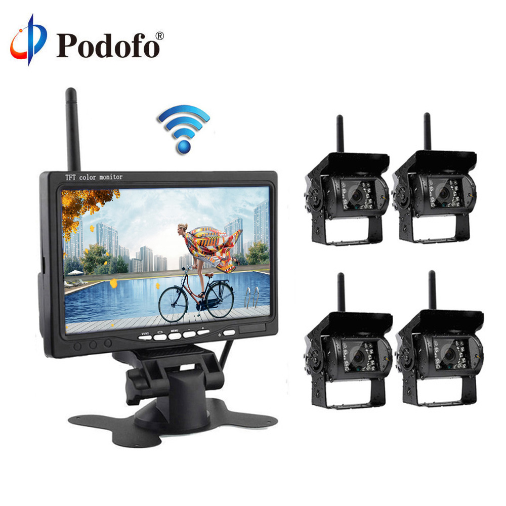 Podofo 7 Wireless Car Monitor Backup Camera System Rearview Screen 4 Rear Cameras IR Night Vision Waterproof For Bus Truck podofo wireless dual backup car rearview camera parking assistance system waterproof ir night vision 7 monitor for rv truck bus