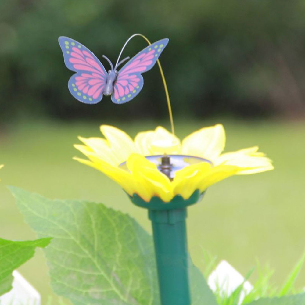 Solar Powered Butterfly with Sunflower Flying Vivid Solar Powered Bird Plastic Wind Spinners Fluttering Drop Shipping