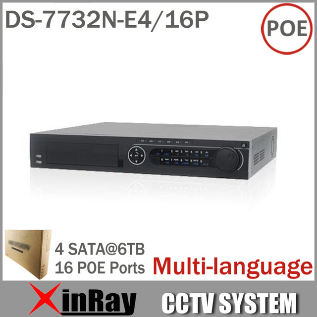 DS-7732N-E4 / 16P Сетевой видеорегистратор 32ch с 16 POE IP-интерфейса сети камера Video Recorder нескольких языков 4SATA для HDD