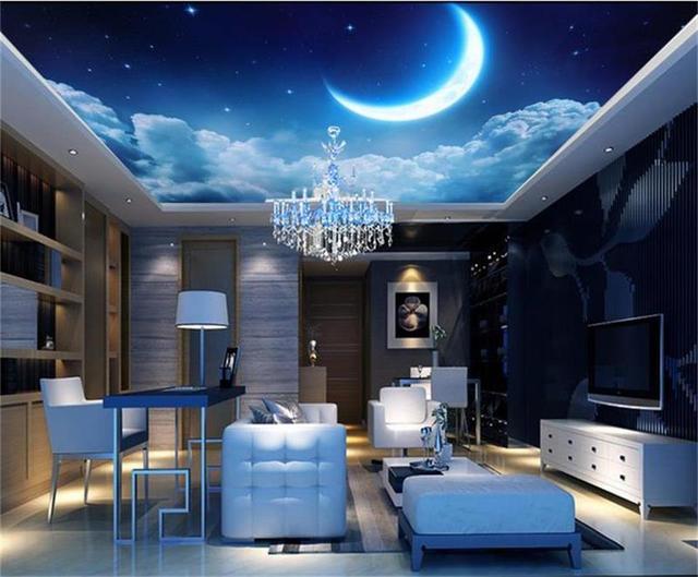 Tapete Foto Benutzerdefinierte Decke Zimmer Wandbild Traum Starry Sky Mond Bild Malerei Wandmalereien