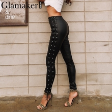 Glamaker Lace up black leather pants Women slim bodycon skinny casual pants Autumn winter high wasit pencil pants bottom 2017(China)