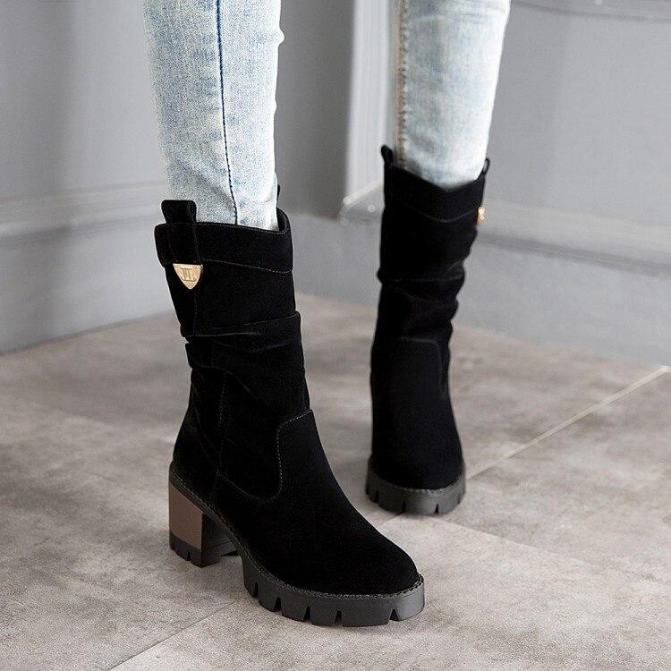 ФОТО 2016 autumn high-heeled thick heel medium-leg boots scrub boots women's shoes women's shoes winter boots women's boots