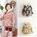 Free shipping children's winter clothing girl printing flower coat wadded jacket girl outerwear