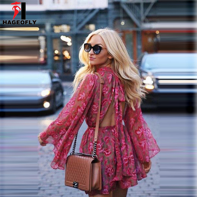 d86c3139a8a1 Women Summer Mulberry Silk Playsuits Long Sleeve Ruffles Silk Romper Sexy  Exposed Backless Floral Print Playsuit