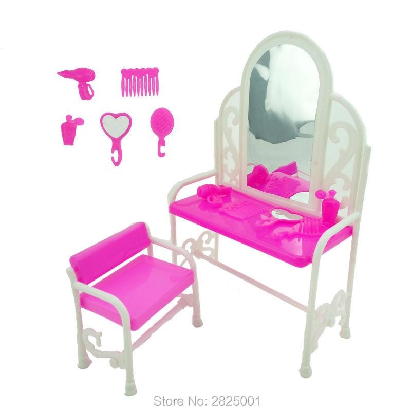 1 Set Dresser Desk Mirror Chair Comb Hand Mirror Hair Dryer Perfume Bottle 1:6 Dollhouse Accessories For Barbie FR Kurhn Doll