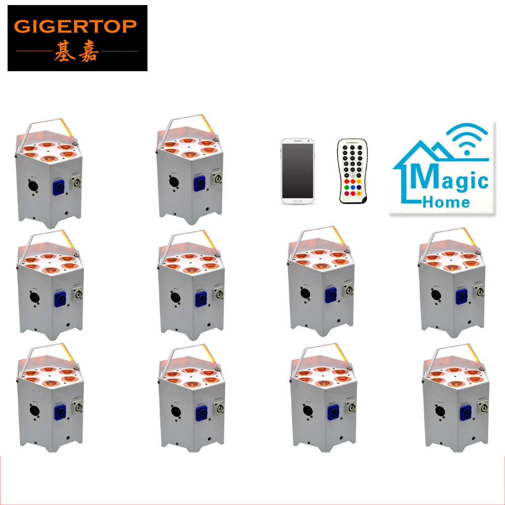 Işıklar ve Aydınlatma'ten Sahne Aydınlatması Efekti'de Fabrika Doğrudan Satış 10 Paket Pil Uzaktan Kumanda LED Par Can 6x5W RGBAW 5IN1 2.4G Kablosuz verici/Alıcı/mobil uygulama title=