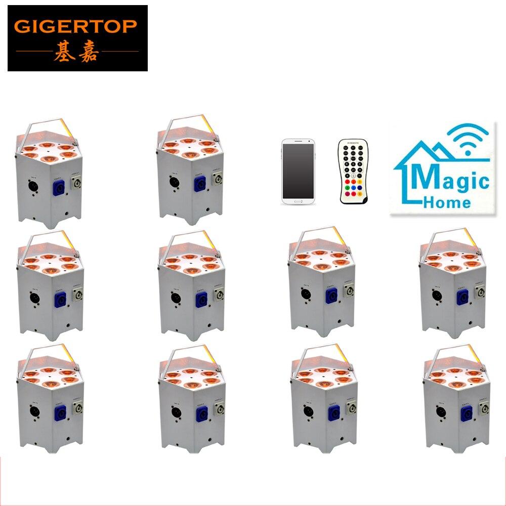 Ventes directes d'usine 10 Pack batterie télécommande LED Par peut 6x5 W RGBAW 5IN1 2.4G sans fil émetteur/récepteur/application Mobile