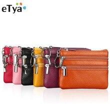 Купить с кэшбэком eTya Fashion Small Genuine Leather luxury brand Wallet women wallets and purses Zipper Card Coin Key Holder Bag