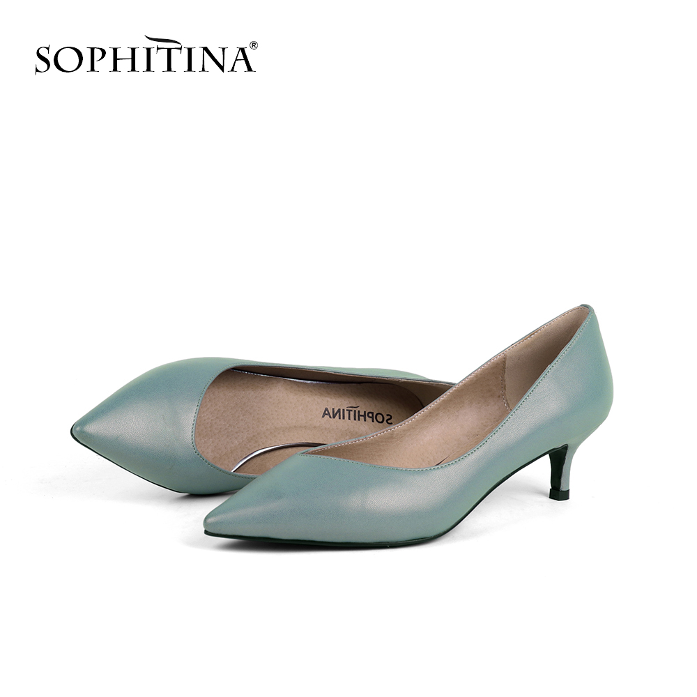SOPHITINA Solid Color Pumps Genuine Leather Pointed Toe Shallow Casual Thin Heels Concise Elegant Shoes Basic Fresh Pumps PC146