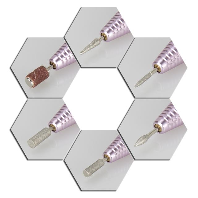 Professional Pink Electric Nail Drill Pen 6 Bits Nail Nursing Kit 100-240V Pedicure & Manicure Polish Machine Nail Art Tool
