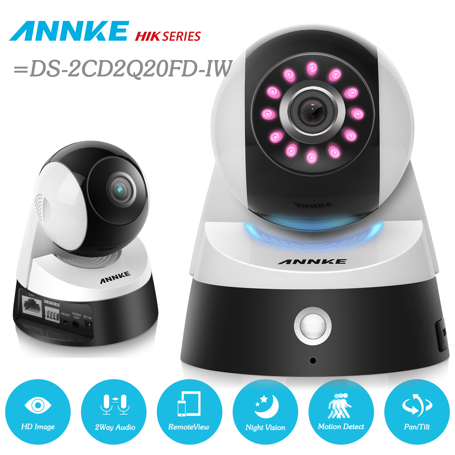 ANNKE HD 1080p Wireless Wi-Fi Camera With 2-Way Audio, 2.0MP Sensor, And Infrared Motion Detection =SKI DS-2CD2Q20FD-IW touchstone teacher s edition 4 with audio cd
