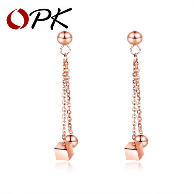OPK Geometric Cube Dangle Drop Earrings For Women Rose Gold Color