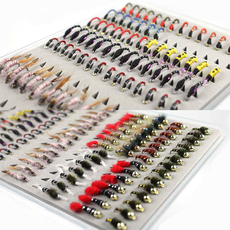 126PCS/Set Promotion Portable Boxed Bead Head Nymph Scud Midge Fly Fishing Flies for Fly Trout Fishing Lures Baits 12pcs 14 red tail bead head buzzer nymph fly for trout fishing lures