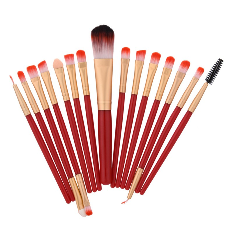 15pcs beauty wooden handle Makeup Brush Set tools Make-up Toiletry Kit Wool Make Up Brush Set