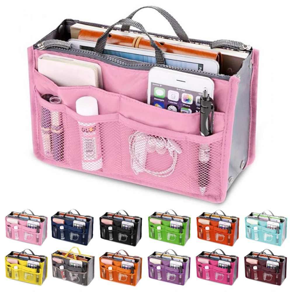 Saco de inserção organizador de viagem bolsa de inserção de náilon bolsa de maquiagem de senhora grande forro senhora maquiagem saco de cosméticos barato feminino tote