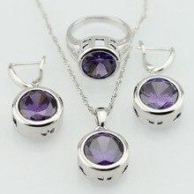 Ronda Púrpura Amethyst Imitado Plateado Joyería de Las Mujeres Conjuntos de Collar Colgante Anillos de Envío Caja de Regalo de la Feliz Navidad