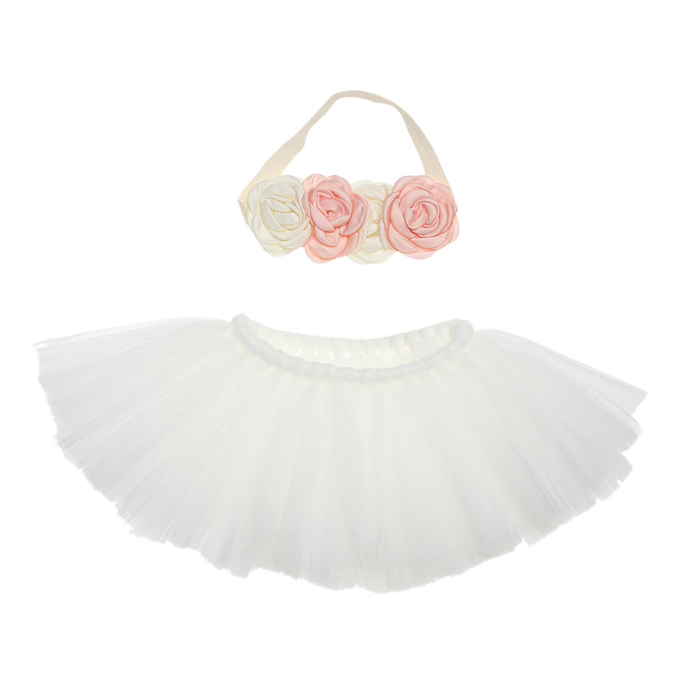 Baby Newborn Photograpghy Props Kids Children Baby White Tutu Skirt + Flower Hair Photos Props Newborn Photography Accessories цена