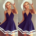 Blue Sexy Women Summer Bandage BodyConParty Cocktail Lace MINI Dress