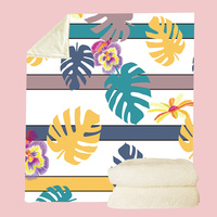 Comfortable Multi Useful Throw Blankets Tropical Plant Fruit Banana Cactus Leaf Watermelon Print Coral Fleece Plush Sofa Blanket
