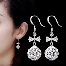 fashion New Women Earrings Luxury Butterfly Rhinestone Ball Shambhala Bow Stud Earrings Graduation Party Silver plated Jewelry