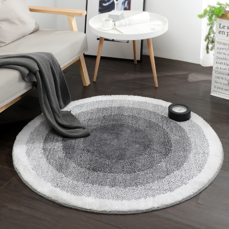 Nordic Grey Series Round Carpets Thick Computer Chair Mat Round Rugs For Living Room Carpet Kids Bedroom Modern Study Room Floor