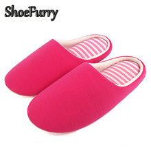 ShoeFurry Winter Woman Home Slippers Indoor Cotton Shoes Soft Bottom Mute Women Bedroom Slippers Plush Shoes Female Fur Slippers(China)